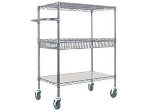 Alera ALESW543018BA Three-Tier Wire Rolling Cart, 30w x 18d x 40h, Black Anthracite