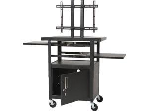 BALT 27532 Height-Adjustable TV Cart, Four-Shelf, 24w x 18d x 62h, Black, Includes 2 pullout shelves and LCD/plasma mounting system, must order 48-045-017 together to get complete unit