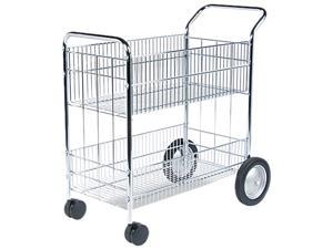 Fellowes 40912 Wire Mail Cart, 22-1/4w x 38-1/2d x 39-1/4h, Chrome