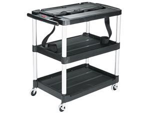 Rubbermaid Commercial 9T28 Media Master AV Cart, 3-Shelf, 18-3/4w x 32-3/4d x 33h, Black