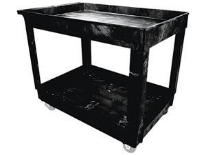 Rubbermaid Commercial 9T6700BLA Service/Utility Cart, 2-Shelf, 24w x 40d x 31-1/4h, Black