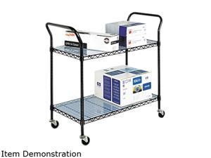 Safco 5337BL Wire Utility Cart, 2-Shelf, 43-3/4w x 19-1/4d x 40-1/2h, Black