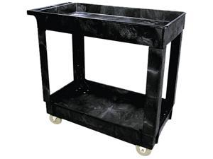 Rubbermaid Commercial 9T6600BLA Service/Utility Cart, 2-Shelf, 16w x 34d x 31-1/4h, Black