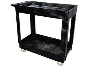 Rubbermaid Commercial 9T6600BLA Service/Utility Cart, 2-Shelf, 16w x 34d x 31-1/4h, Black