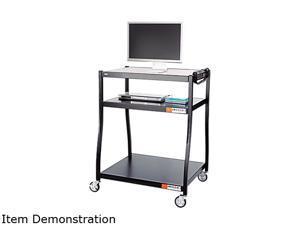 Safco 8930BL Wide Base AV Cart, 3-Shelf, 35w x 28d x 54-1/2h, Black