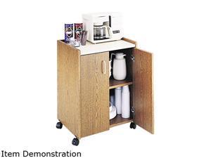 Safco 8953MO Mobile Refreshment Center, 1-Shelf, 23w x 18d x 31h, Medium Oak/White