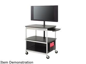 Safco 8940BL Scoot Flat Panel Multimedia Cart, 3-Shelf, 39-1/2w x 27d x 38-1/4h, Black