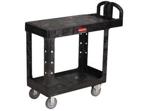 Rubbermaid Flat Shelf Utility Cart, 2-Shelf, 500lbs, 19 x 38 x 33-1/3, Black