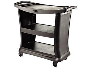 Rubbermaid Executive Service Cart, 3-Shelf, 300lbs, 20-1/3 x 38, Black