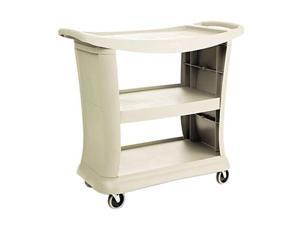 Rubbermaid Executive Service Cart, 3-Shelf, 300lbs, 20-1/3 x 38, Platinum