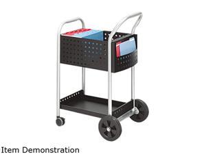 Safco Scoot Mail Cart, 1-Shelf, 300lbs, 22-1/2 x 27-1/2 x 40-3/4, Black/Silver