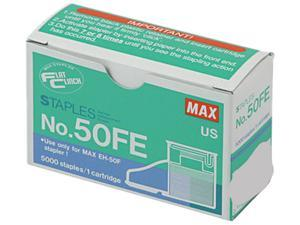 Max 50-FE Staple Cartridge for EH-50F Flat-Clinch Electric Stapler, 5,000/Box