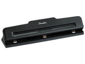 """Swingline Desktop Hole Punch 3 Punch Head(s) - 10 Sheet Capacity - 9/32"""" - Black, 1 Each"""