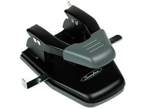 Swingline 74050 28-Sheet Comfort Handle Steel Two-Hole Punch, 1/4 Inch Hole, Black
