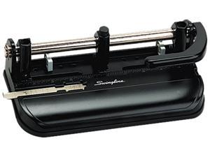 "Swingline 74350 32-Sheet Lever Handle Two- to Seven-Hole Punch, 9/32"" Holes, Black, 1 Each"