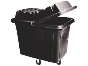 Rubbermaid Commercial 461200BLA Metal Frame Cube Truck, Rectangular, Polyethylene, 400-lb cap, 12 cu ft, Black