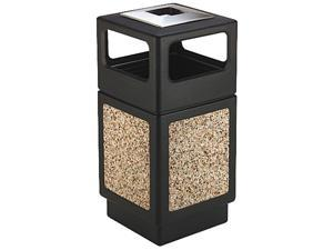 Safco 9473NC Canmeleon Ash/Trash Receptacle, Square, Aggregate/Polyethylene, 38 gal, Black