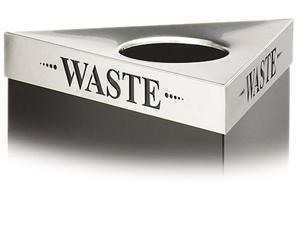 "Safco 9560WA Trifecta Waste Receptacle Lid, Laser Cut ""WASTE"" Inscription, Stainless Steel"