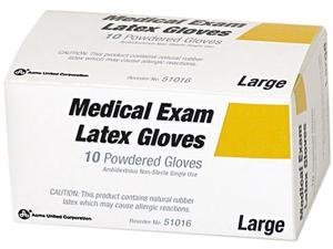 PhysiciansCare 51016 Disposable Latex Glove First Aid Refill, Lightly Powdered, No Talc, Med, 10/Box