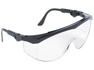 Crews Tomahawk Wraparound Safety Glasses, Black Nylon Frame, Clear Lens, 12 per box