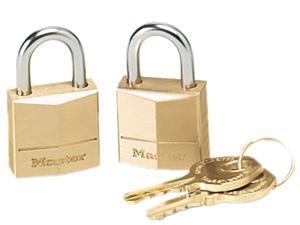 """Master Lock 120T Three-Pin Brass Tumbler Locks, 3/4"""" Wide, 2 Locks & 2 Keys/Pack"""