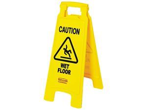 "Rubbermaid Commercial 611277YW ""Caution Wet Floor"" Floor Sign, Plastic, 11 x 1-1/2 x 25, Bright Yellow"