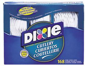 Dixie CM168 Heavy-Duty Combo Pack, Tray w/Plastic Forks, Knives, Spoons, WE, 168 Pieces/Pack