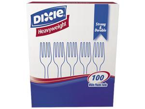 Dixie FH207 Plastic Tableware, Heavyweight Forks, White, 100/Box