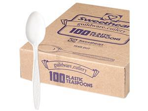 SOLO Cup Company                         Guildware Heavyweight Plastic Teaspoons, White, 10 Boxes of 100