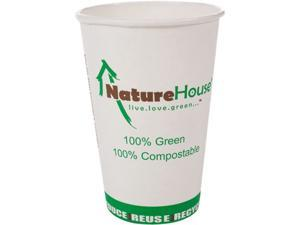 NatureHouse C008 Compostable Paper/PLA Cup, 8 oz, Black, 50/pack