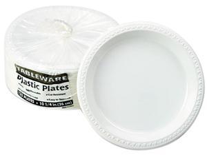 "Tablemate TM10644WH Plastic Dinnerware, Plates, 10-1/4"" Diameter, White, 125/Pack"
