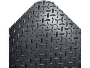 Crown                                    Industrial Deck Plate Anti-Fatigue Mat, Vinyl, 24 x 36, Black