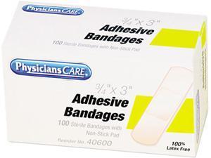 Plastic Adhesive Bandages, 3/4 x 3, 100/Box