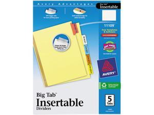Avery 11109 WorkSaver Big Tab Reinforced Dividers, Multicolor Tabs, 5-Tab, Letter, Buff