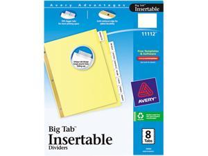 Avery 11112 WorkSaver Big Tab Reinforced Dividers w/Clear Tabs, 8-Tab, Letter, Buff