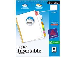 Avery 11123 WorkSaver Big Tab Dividers, Multicolor Tabs, 8-Tab, Letter, White