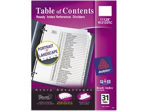 Avery 11128 Ready Index Classic Tab Titles, 31-Tab, 1-31, Letter, Black/White, 31/Set
