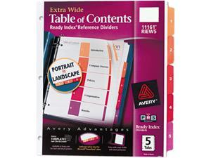 Avery 11161 Extra-Wide Ready Index Dividers, 5-Tab, 9 1/2 x 11, Assorted, 5/Set