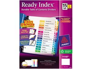 Avery 11197 Ready Index Contemporary Contents Divider, 1-15, Multicolor, Letter, 6 Sets