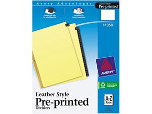 Avery 11350 Gold Reinforced Leather Tab Dividers, 25-Tab, A-Z, Letter, Black, 25/Set