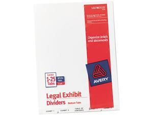 Avery 11378 Avery-Style Legal Bottom Tab Divider, Title: Exhibit 1-25, Letter, White