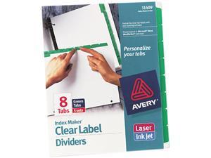 Avery 11409 Index Maker Divider w/Color Tabs, Green 8-Tab, Letter, 5 Sets/Pack