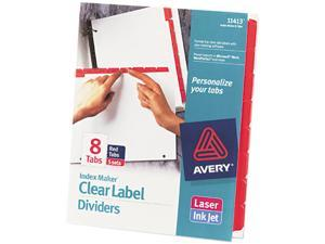 Avery 11413 Index Maker Divider w/Color Tabs, Red 8-Tab, Letter, 5 Sets/Pack