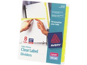 Avery 11415 Index Maker Divider w/Color Tabs, Yellow 8-Tab, Letter, 5 Sets/Pack