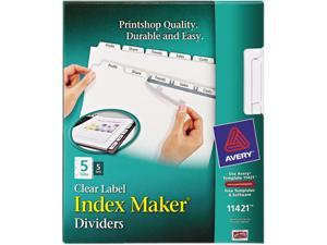 Avery 11421 Index Maker White Dividers For Copiers, 5-Tab, Letter, Clear, 5 Sets/Pack