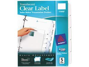 Avery 11449 Index Maker Clear Label Punched Dividers, 5-Tab, Letter