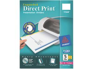 Avery 11568 Direct Print Unpunched Presentation Dividers, 5-Tab, Letter, White, 4 Sets/Pack