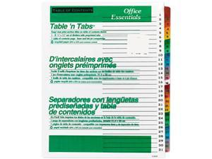 Avery 11681 Office Essentials Table 'N Tabs Dividers, 31 Multicolor Tabs, 1-31, Letter, Set