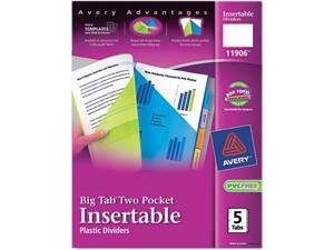 Avery 11906 WorkSaver Big Tab Plastic Dividers, Two Slash Pockets, 5-Tab, Assorted, 1 Pack