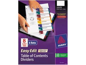 Avery 12172 Ready Index Easy Edit Contents Dividers, Title 1-8, Letter, Multicolor, 6 Sets